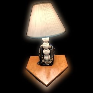 Custom handmade baseball glove/home plate lamp